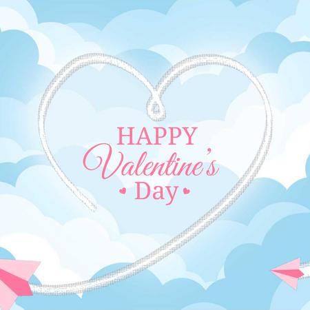 Plantilla de diseño de Plane drawing Valentine's Day Heart Animated Post