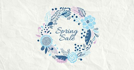 Modèle de visuel Spring Sale Flowers Wreath in Blue - Facebook AD