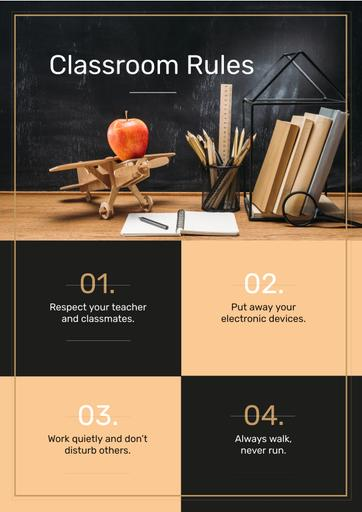Classroom Rules With Stationery And Toy Plane On Table