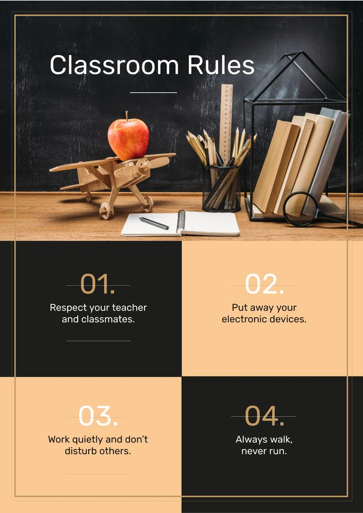 Classroom Rules with Stationery and Toy Plane on Table — Crear un diseño