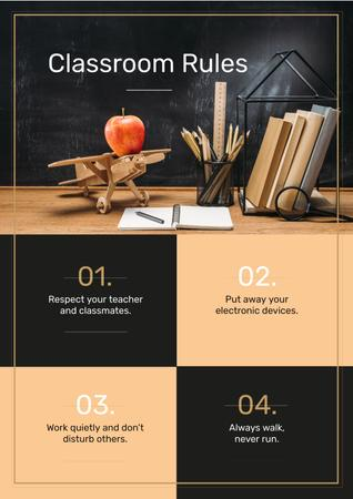 Plantilla de diseño de Classroom Rules with Stationery and Toy Plane on Table Poster
