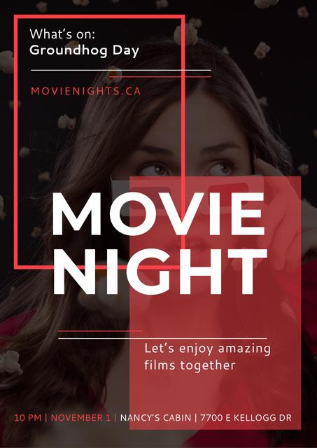 Plantilla de diseño de Movie night event Annoucement Poster