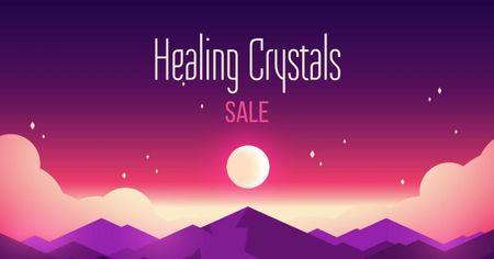 Plantilla de diseño de Healing Crystals Sale Announcement Facebook AD