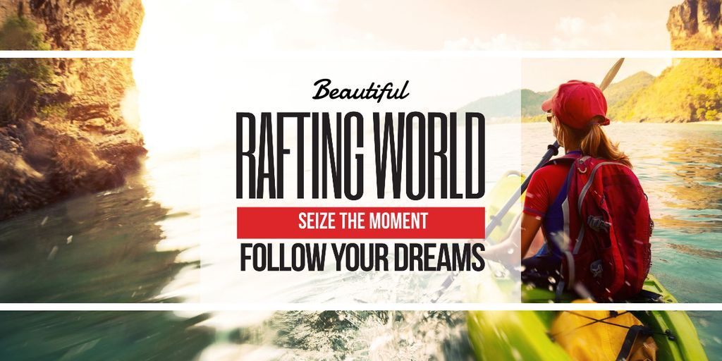 Template di design Rafting Tour Invitation with Woman in Boat Image