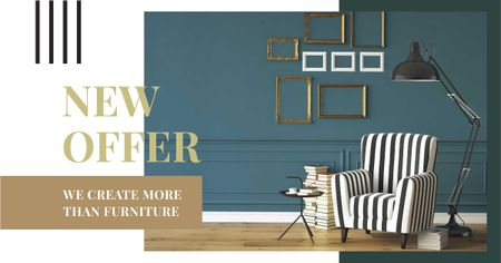 Template di design Cozy interior in monochrome colors Facebook AD