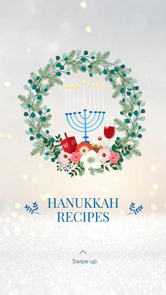 Happy Hanukkah greeting wreath Instagram Story – шаблон для дизайна