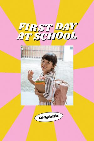 Back to School with Cute Pupil Girl with Backpack Pinterest – шаблон для дизайна