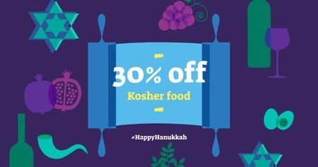 Modèle de visuel Hanukkah Discount Offer on Kosher Food - Facebook AD