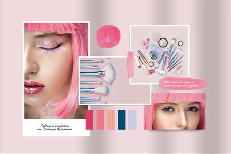 Creative Makeup in Pink with glitter Mood Board – шаблон для дизайна