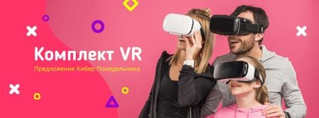 Cyber Monday Ad with Family in VR Glasses Facebook cover – шаблон для дизайна
