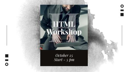 HTML Workshop Announcement with Programmer FB event cover – шаблон для дизайна