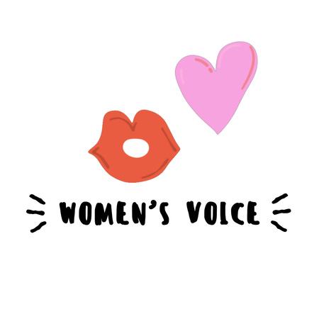 Girl Power inspiration with lips sending kiss Animated Post Modelo de Design