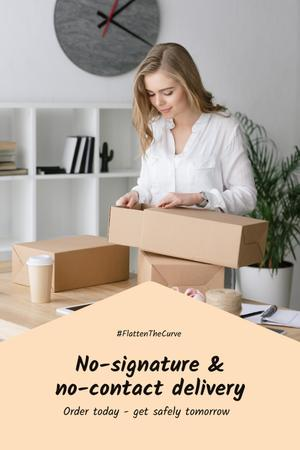 #FlattenTheCurve Delivery Services offer Woman with boxes Pinterest Design Template