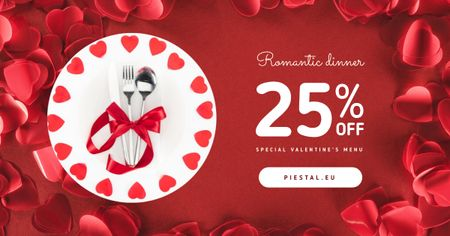Modèle de visuel Valentine's Day Dinner Cutlery in Red - Facebook AD