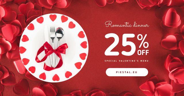 Plantilla de diseño de Valentine's Day Dinner Cutlery in Red Facebook AD