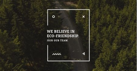 Eco-friendship concept in forest background Facebook AD Modelo de Design