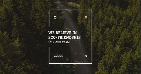 Modèle de visuel Eco-friendship concept in forest background - Facebook AD