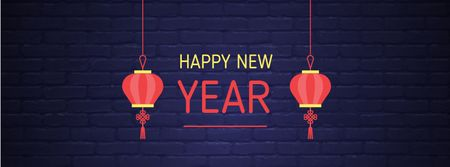 Plantilla de diseño de Chinese New Year Greeting with Lanterns Facebook cover