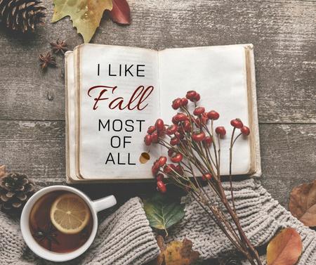 Autumn Inspiration with Book and Warm Tea with Lemon Facebook – шаблон для дизайна