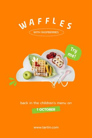 Delicious Sweet Waffles with Fruits Pinterestデザインテンプレート
