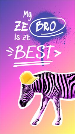 Modèle de visuel Funny Zebra in Teen Cap - Instagram Story