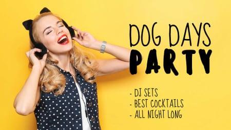Plantilla de diseño de Party Announcement with Funny Girl in Toy Ears FB event cover