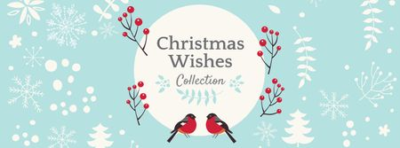 Christmas Wishes with Bullfinches Facebook cover – шаблон для дизайну