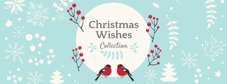 Plantilla de diseño de Christmas Wishes with Bullfinches Facebook cover