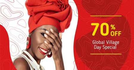 Global Village Day Offer with Attractive Woman in Red Facebook AD – шаблон для дизайна