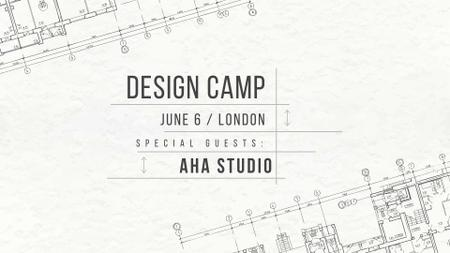 Plantilla de diseño de Design camp announcement on blueprint FB event cover