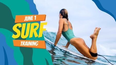 Modèle de visuel Summer Offer Woman on Surfboard - FB event cover