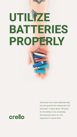 Utilization Guide Hand Holding Batteries Instagram Story Design Template