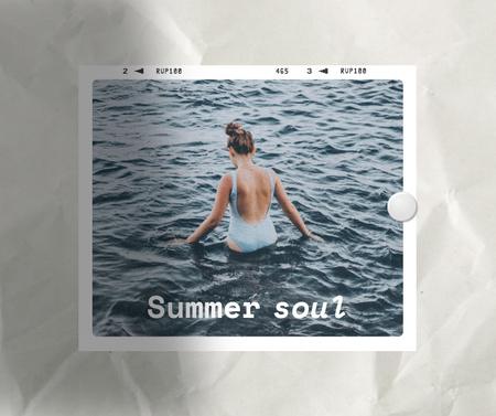 Designvorlage Summer Inspiration with Woman in Sea Water für Facebook