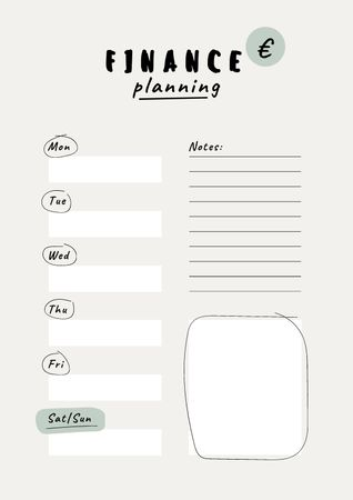 Plantilla de diseño de Weekly Finance Planning Schedule Planner