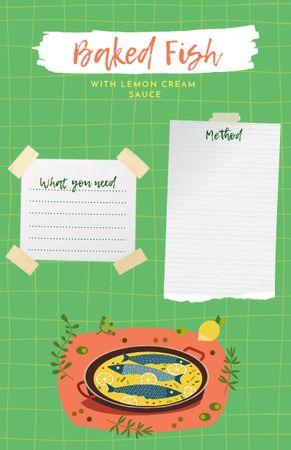 Platilla de diseño Baked Fish Cooking Steps Recipe Card