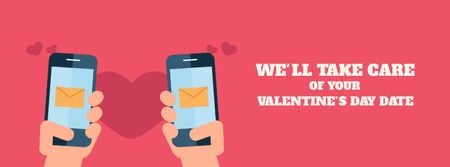 Modèle de visuel Valentine's Day Couple sending Messages - Facebook Video cover