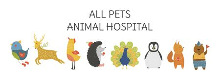 Animal Hospital ad with Animals Icons Facebook cover – шаблон для дизайну