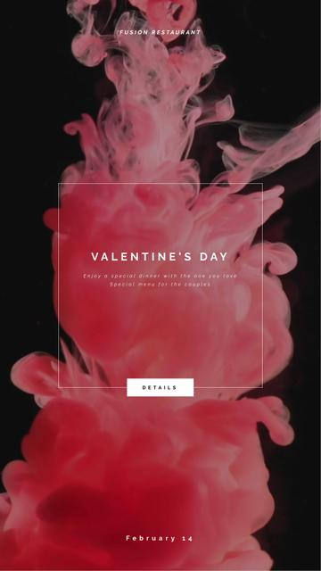 Valentine's Day Inviting Card Pink Ink Splashes Instagram Video Story Design Template
