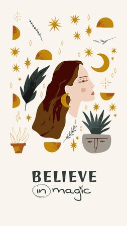 Modèle de visuel Astrological Inspiration with Woman illustration - Instagram Story