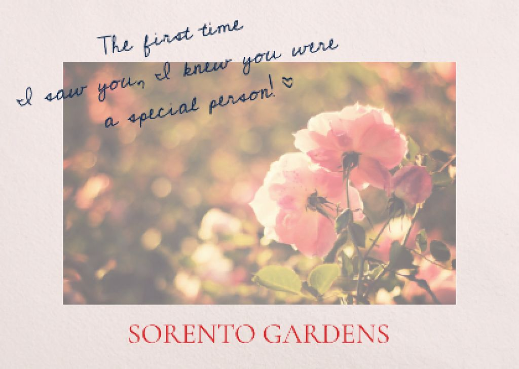 Sorento gardens advertisement with Tender Flowers — Créer un visuel