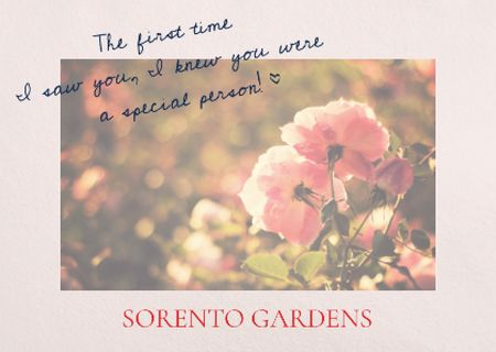 Modèle de visuel Sorento gardens advertisement with Tender Flowers - Postcard