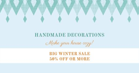 Template di design Handmade decorations sale on Pattern in Blue Facebook AD
