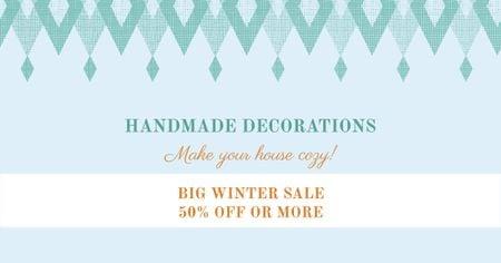 Designvorlage Handmade decorations sale on Pattern in Blue für Facebook AD