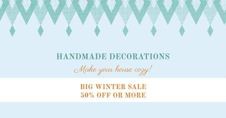 Plantilla de diseño de Handmade decorations sale on Pattern in Blue Facebook AD