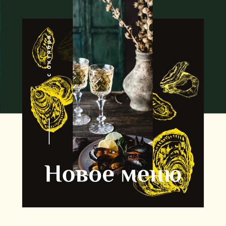 New Menu Ad with Served cooked mussels Instagram – шаблон для дизайна