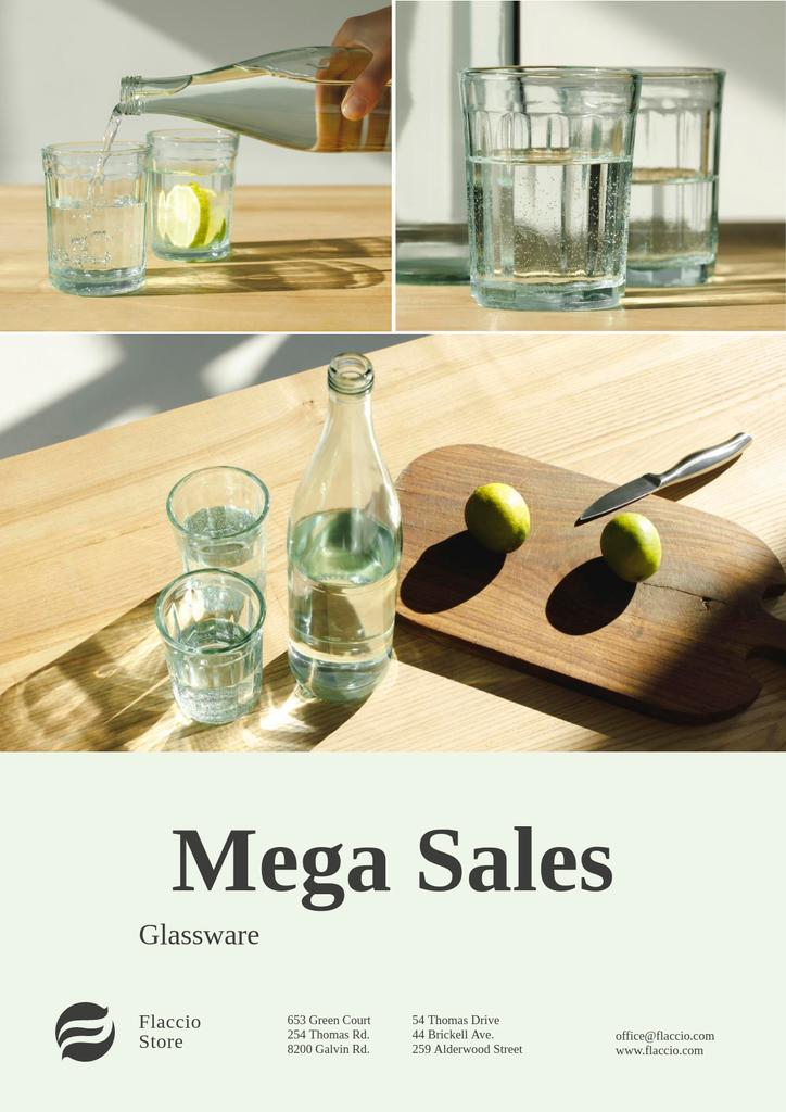 Kitchenware Sale with Jar and Glasses with Water — Modelo de projeto