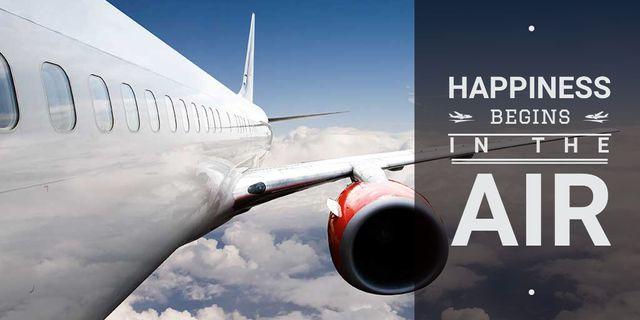 Plantilla de diseño de Airlines advertisement with plane Twitter