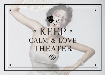 Theater Quote Woman Performing in White Postcard Modelo de Design