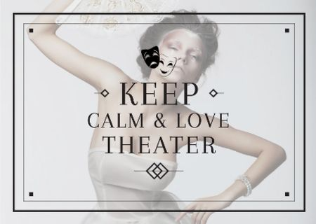 Plantilla de diseño de Theater Quote Woman Performing in White Postcard
