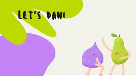 Plantilla de diseño de Funny bright dancing Pear and Plum Zoom Background